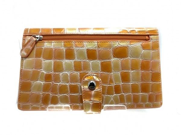 コッコフィオーレ 財布美品  オレンジ×マルチ 型押し加工 エナメル(レザー)