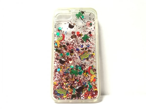 トリーバーチ 携帯電話ケース クリア×レッド×マルチ iPhoneケース プラスチック