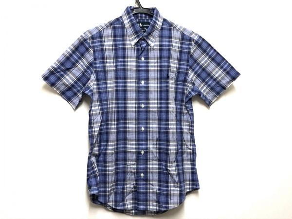 ラルフローレン 半袖シャツ サイズM レディース ブルー×白×マルチ チェック柄