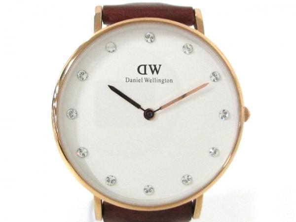 ダニエルウェリントン 腕時計美品  O34R9 レディース ラインストーン 白