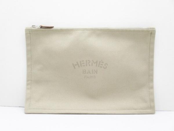 HERMES(エルメス) ポーチ美品  トゥルース フラットGM ベージュ×ライトブラウン