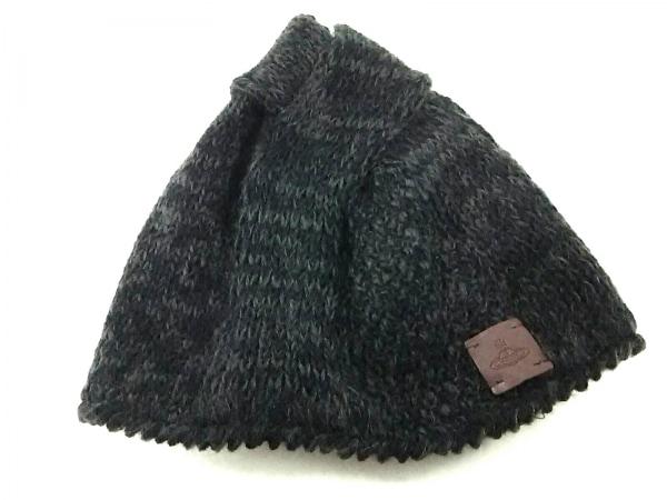 ヴィヴィアンウエストウッドアクセサリーズ ニット帽美品  黒×ダークグレー