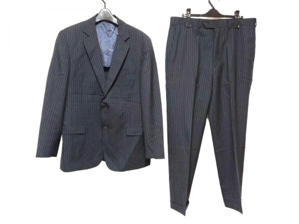 ブルックスブラザーズ シングルスーツ サイズ36W メンズ 黒 346/肩パッド/ストライプ