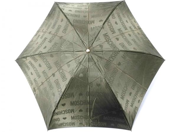 MOSCHINO(モスキーノ) 折りたたみ傘美品  カーキ ハート 化学繊維