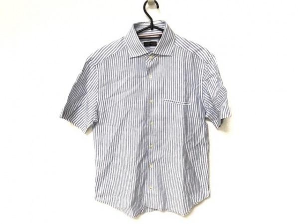 CORNELIANI(コルネリアーニ) 半袖シャツ サイズ39 メンズ美品  白×ブルー