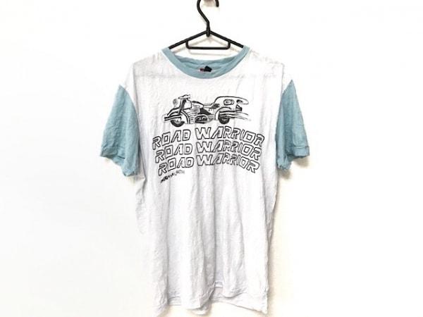 DIESEL(ディーゼル) 半袖Tシャツ サイズL レディース ライトグレー×ブルー