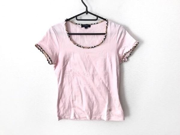 バーバリーロンドン 半袖Tシャツ サイズ2 M レディース ピンク×ベージュ×マルチ