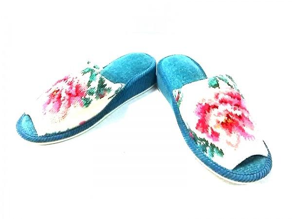 FEILER(フェイラー) 靴 レディース美品  - アイボリー×ブルーグリーン×マルチ