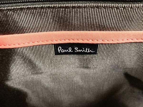 ポールスミス ビジネスバッグ美品  ダークブラウン ストライプ ナイロン×レザー