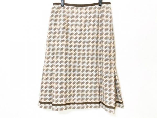 Leilian(レリアン) スカート サイズ9 M レディース ベージュ×ダークブラウン×マルチ