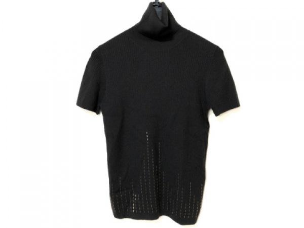 レリアン 半袖セーター サイズ11 M レディース ダークブラウン タートルネック/ビーズ