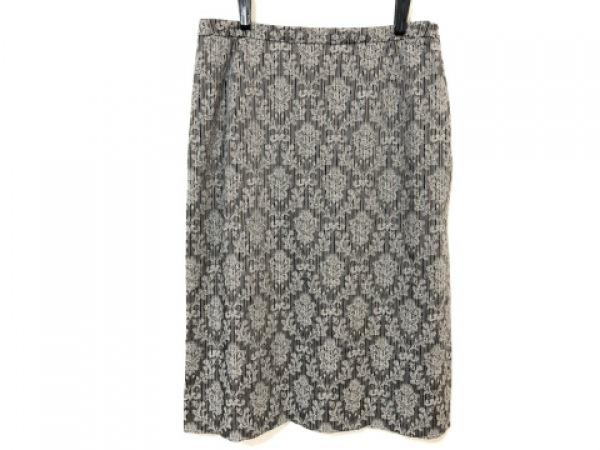 レリアン スカート サイズ9 M レディース グレー×ベージュ×マルチ 花柄/ストライプ