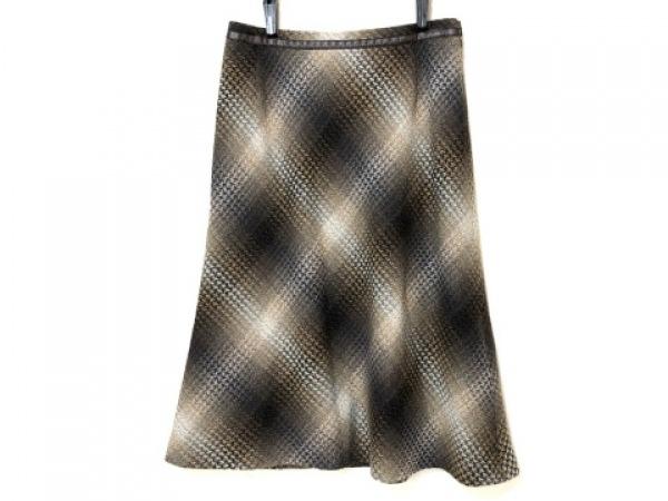 Leilian(レリアン) ロングスカート サイズ9 M レディース ブラウン×グレー×マルチ