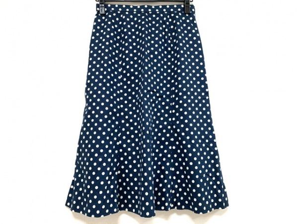 Leilian(レリアン) スカート サイズ9 M レディース ネイビー×白 ドット柄