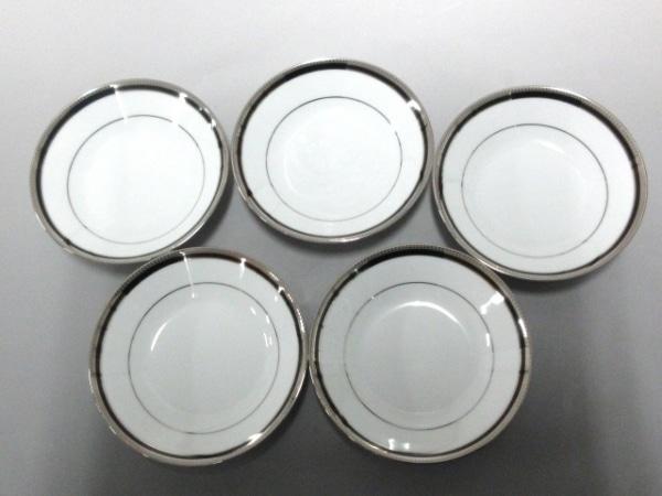ノリタケ プレート新品同様  白×シルバー×黒 5枚セット 陶器 1