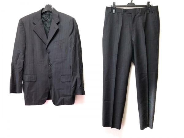 CANALI(カナーリ) シングルスーツ サイズ467 メンズ ダークグレー×黒 ストライプ