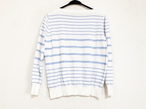 ニジュウサンク 長袖セーター サイズ40 M レディース美品  白×ライトブルー ボーダー