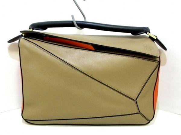 LOEWE(ロエベ) ハンドバッグ美品  パズルバッグ - ブラウン×オレンジ レザー