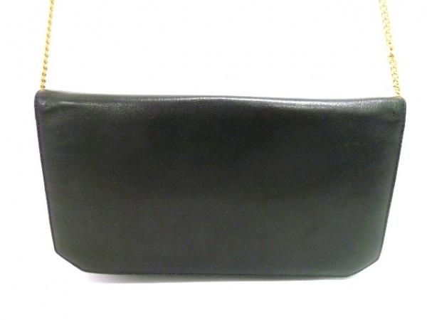 ラバガジェリー ショルダーバッグ 黒×ゴールド チェーンショルダー レザー×金属素材