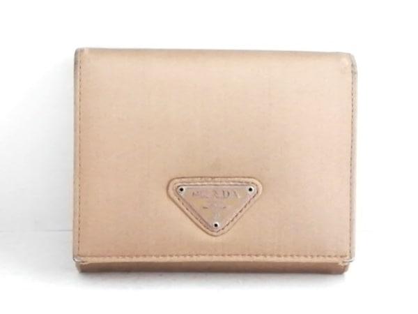 PRADA(プラダ) 2つ折り財布 - ライトブラウン ナイロン×エナメル(レザー)