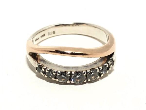 スタージュエリー リング K18WG×シルバー×ジルコニア ダイヤモンド 7Pダイヤ