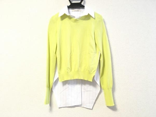 リビアナコンティ 長袖セーター サイズ38 M レディース ライトグリーン×白×マルチ