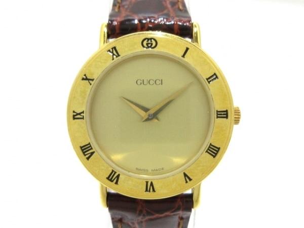 GUCCI(グッチ) 腕時計 3000.2L レディース 革ベルト ゴールド