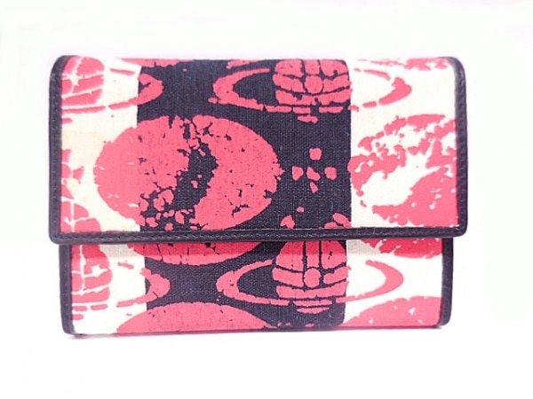 ヴィヴィアンウエストウッド 3つ折り財布 白×黒×レッド キャンバス×レザー