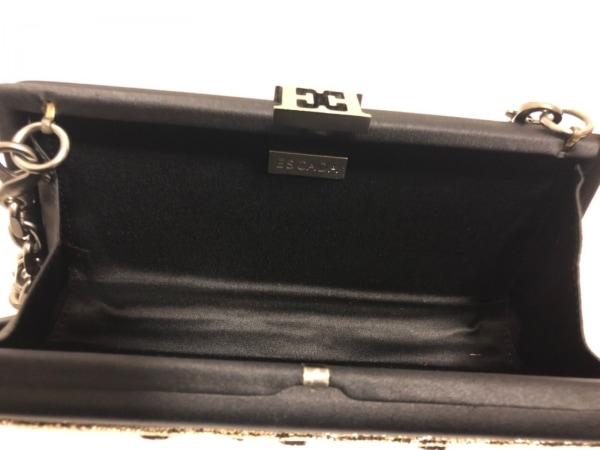 ESCADA(エスカーダ) クラッチバッグ美品  黒×ゴールド×クリア がま口/ビジュー