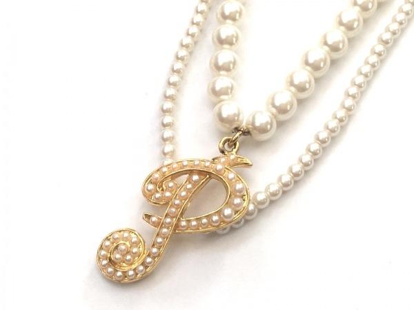 ピンクハウス ネックレス美品  フェイクパール×金属素材 アイボリー×ゴールド