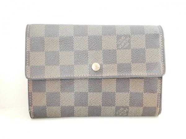 ルイヴィトン 3つ折り財布 ダミエ ポルト トレゾー・エテュイ パピエ N61202 エベヌ