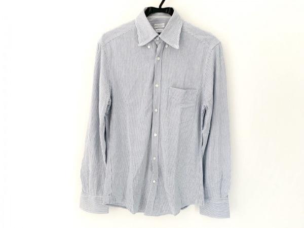 ブルネロクチネリ 長袖シャツ サイズS メンズ 白×ブルー ストライプ