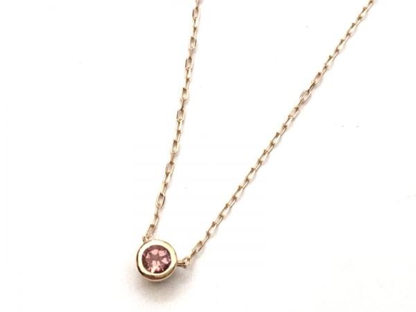 4℃(ヨンドシー) ネックレス美品  K18PG×カラーストーン ピンク