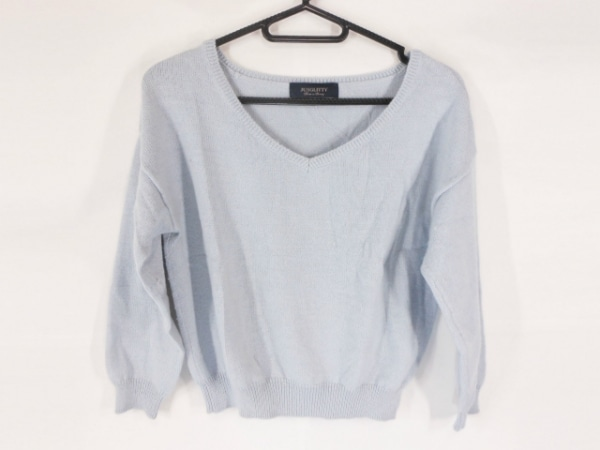 ジャスグリッティー 七分袖セーター サイズ2 M レディース ライトブルー ショート丈