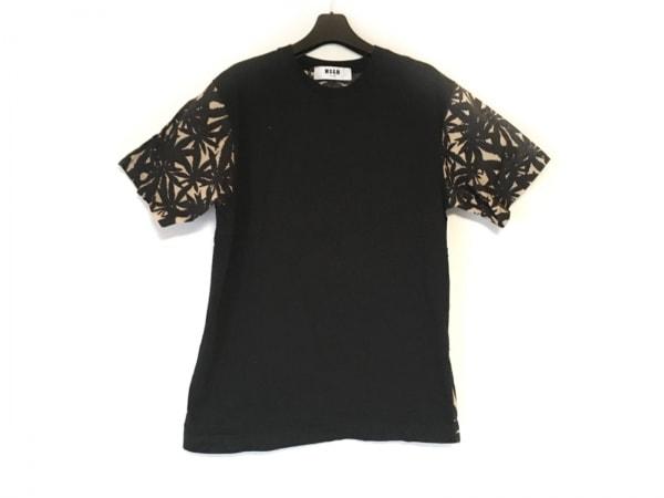MSGM(エムエスジィエム) 半袖Tシャツ サイズS メンズ 黒×ベージュ