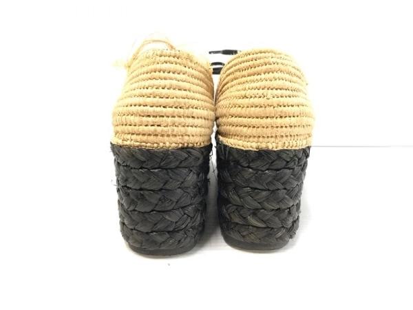 カルヴェン 靴 36 レディース ベージュ×黒 ウェッジソール 天然繊維×ストロー