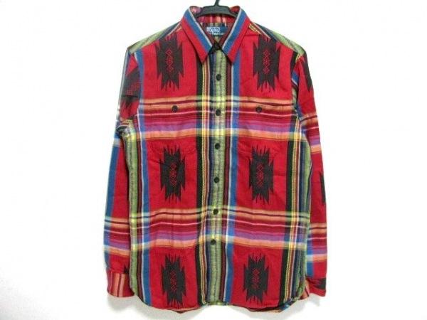 ポロラルフローレン 長袖シャツ サイズS メンズ新品同様  レッド×イエロー×マルチ