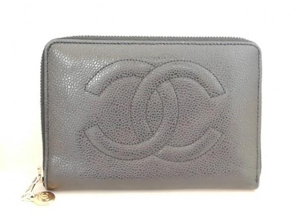 CHANEL(シャネル) 2つ折り財布 - 黒 ラウンドファスナー キャビアスキン