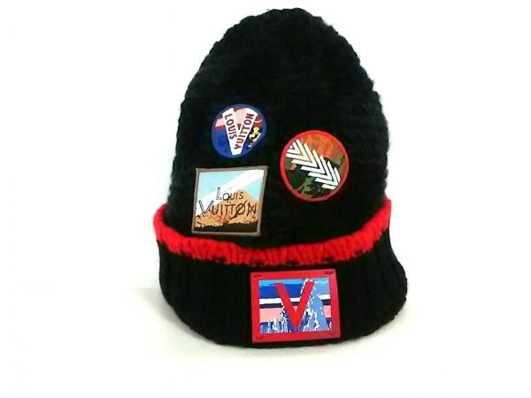 LOUIS VUITTON(ルイヴィトン) ニット帽 黒×レッド×マルチ カシミヤ×レザー