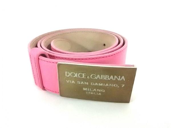 DOLCE&GABBANA(ドルチェアンドガッバーナ) ベルト ピンク×シルバー レザー×金属素材