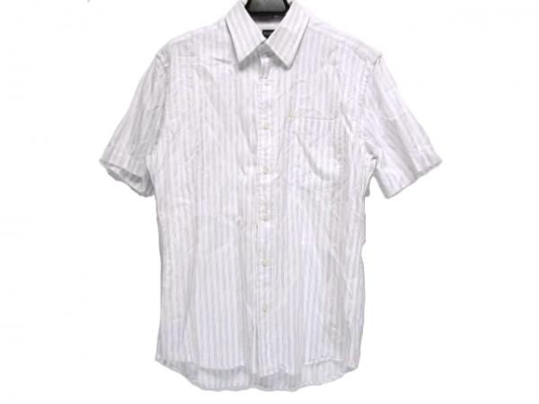 PaulSmith(ポールスミス) 半袖シャツ サイズM メンズ 白×パープル ストライプ