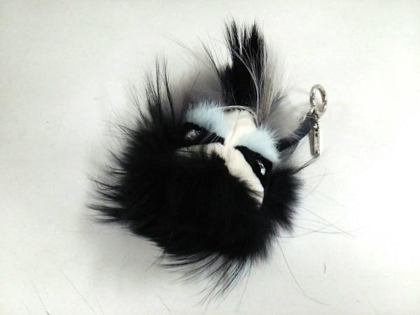 フェンディ キーホルダー(チャーム) バッグバグズ 黒×ライトブルー×アイボリー