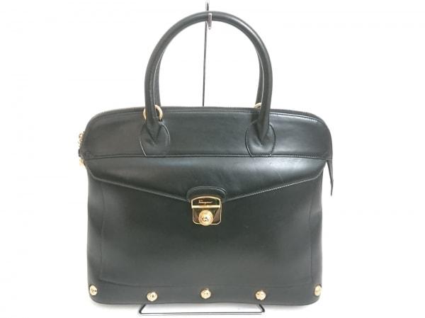 サルバトーレフェラガモ ハンドバッグ - 黒×ゴールド レザー×金属素材