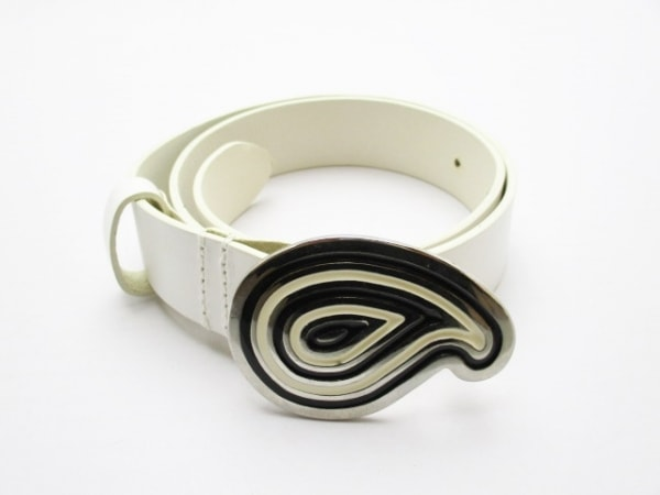 ETRO(エトロ) ベルト 65美品  白×シルバー×黒 レザー×金属素材