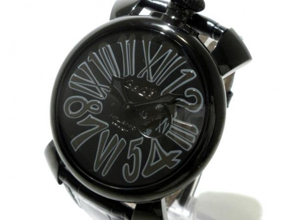 ガガミラノ 腕時計美品  マヌアーレ46 5086 メンズ 革ベルト/型押し加工 黒