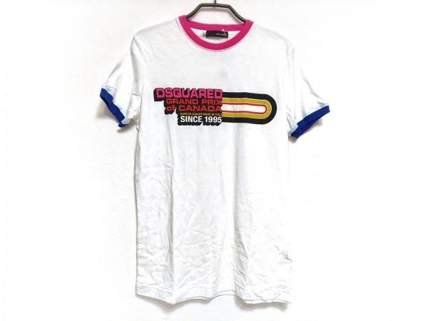 DSQUARED2(ディースクエアード) 半袖Tシャツ サイズS メンズ 白×マルチ
