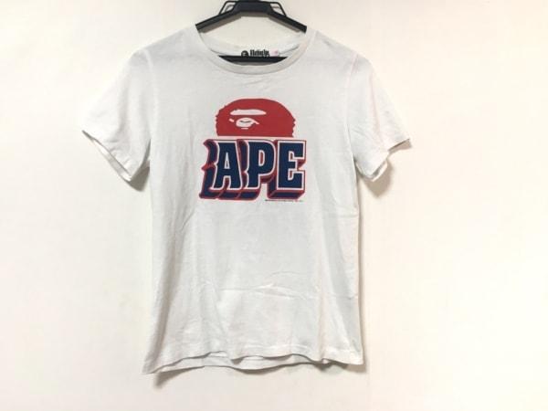 ア ベイシング エイプ 半袖Tシャツ サイズXS メンズ美品  白×ネイビー×レッド