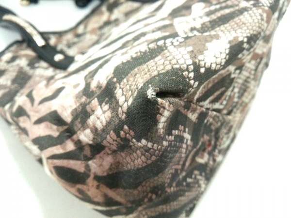 ジミーチュウ トートバッグ美品  - ブラウン×黒×マルチ パイソン柄/スタッズ