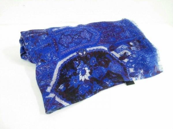 ジムトンプソン ストール(ショール)美品  ブルー×白×ボルドー シルク×カシミヤ