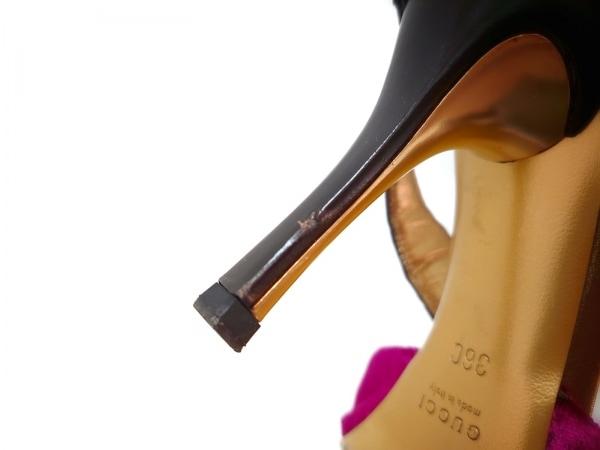 グッチ サンダル 36 レディース パープル×ブラウン ベロア×レザー 9